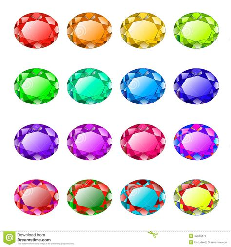 colored gemstones colored faceted stones stock vector image 42645178