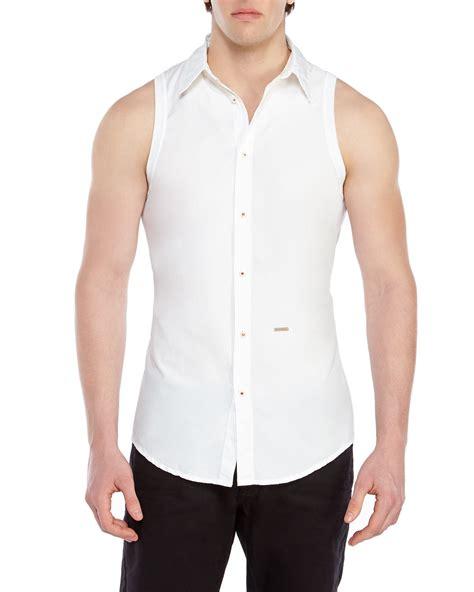 Sleeveless Shirt dsquared 178 white sleeveless shirt in white for lyst