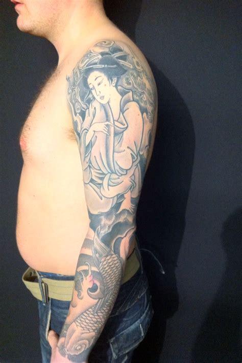 geisha tattoo with koi fish alan s tattoo studio geisha and koi by rich