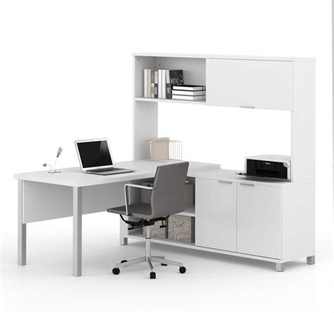 premium modern l shaped desk with hutch in white