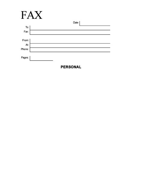 simple personal fax cover sheet free
