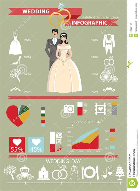 wedding infographic template wedding infographics set and groom stock vector