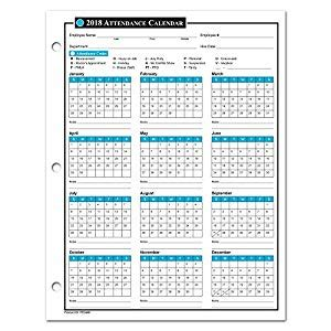 Amazon Com 2018 Attendance Calendar 50 Sheets Package On High Quality Cardstock Paper 2018 Attendance Calendar 25 Pack