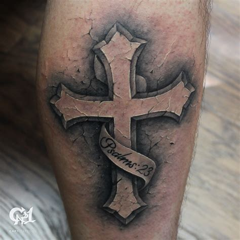cap1 tattoos tattoos capone psalms 23 stone cross tattoo