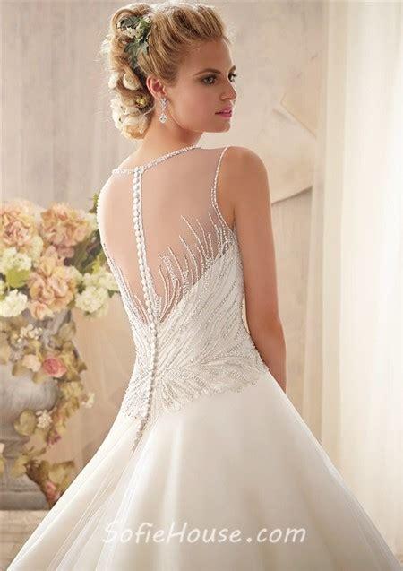 sheer beaded back wedding dress gown illusion neckline sheer back tulle