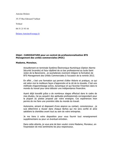 Lettre De Motivation Entreprise Bts Sp3s Lettre De Motivation Ecologie Application Letter