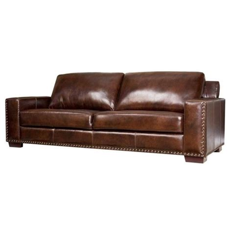 espresso leather couch pemberly row leather sofa in espresso pr 490267