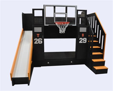 Bunk Bed With Slide And Desk by The Ultimate Basketball Bunk Bed Backboard Slide And More