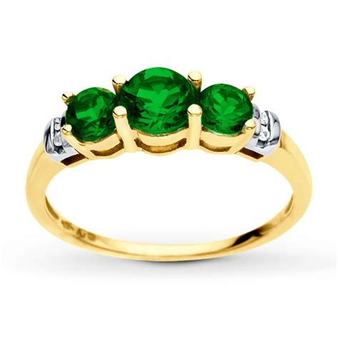 jared lab created emerald ring accents 10k