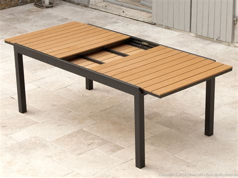 table jardin aluminium extensible 1706 salon de jardin aluminium gris et composite bois 1 table