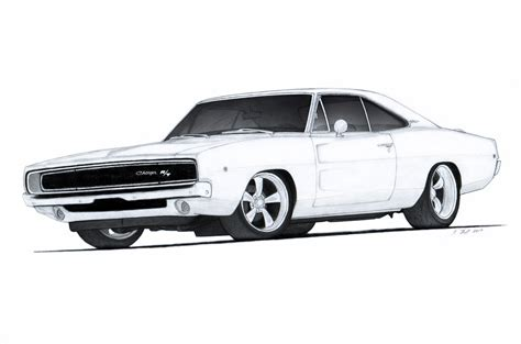 vintage cars drawings 1968 dodge charger r t drawing by vertualissimo on deviantart