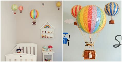 whimsical and colorful air balloon decor how