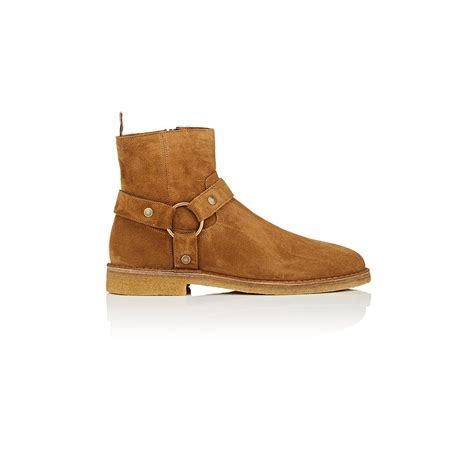 laurent nevada suede ankle boots in brown lyst