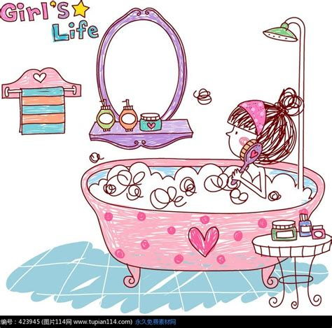 Bathtub Laundry 卡通女士浴缸洗澡图片