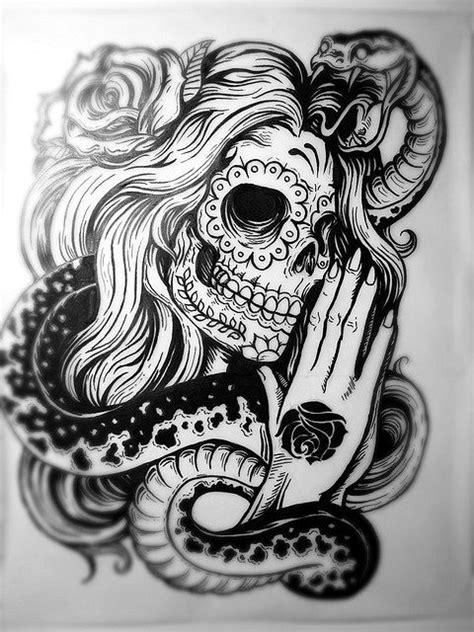 amazing tattoo design sugar skull lade  rose