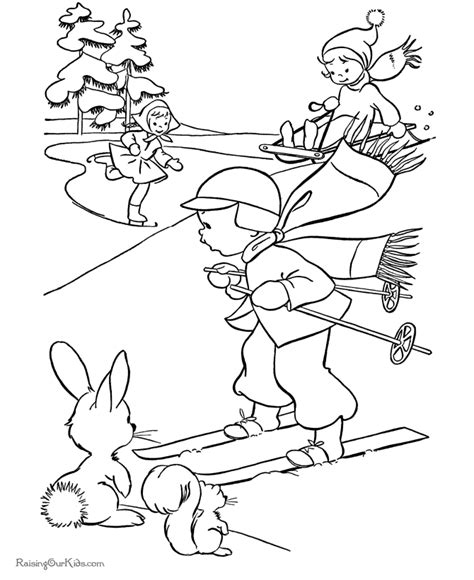 kids activities in winter coloring pages