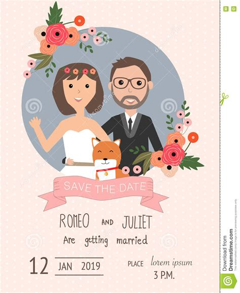 Hochzeitseinladung Hund by Wedding Invitation Cards With And Groom And Their