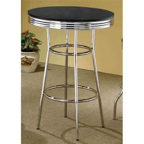 black chrome bar table bellacor