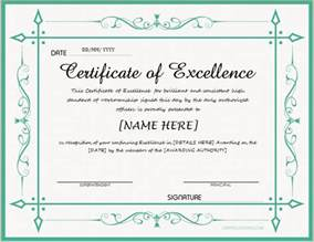 certificates of excellence for ms word professional