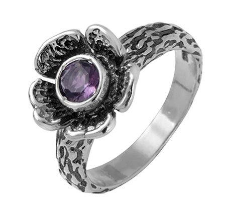 sterling silver amethyst flower ring by or paz qvc