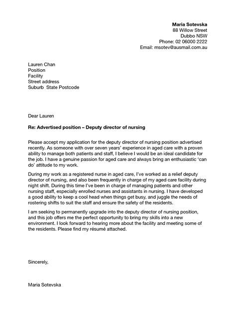 cover letter for registered manager cover letter nursing sle cover