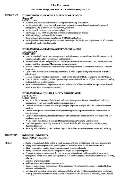 Environmental Health & Safety Coordinator Resume Samples   Velvet Jobs
