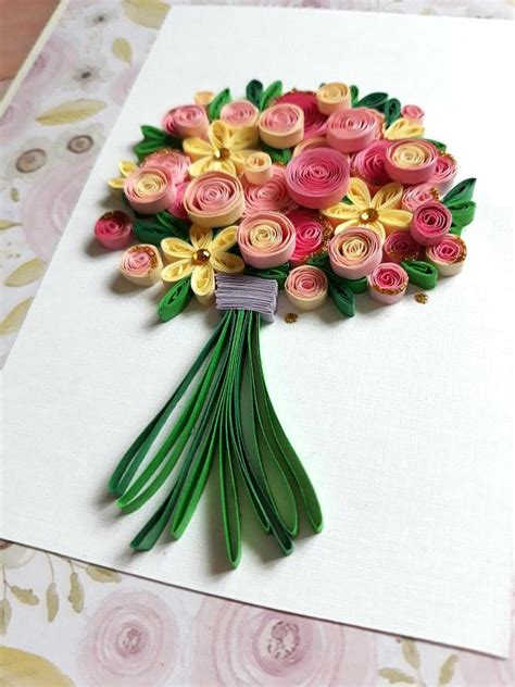 Quilling Wedding Bouquet by Quilling Birthday Card With Bouquet Of Pink Roses And