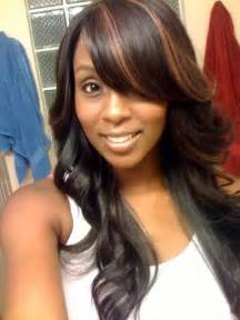 black hair swoop bangs pretty full sew in w a swoop bang hairstyles pinterest
