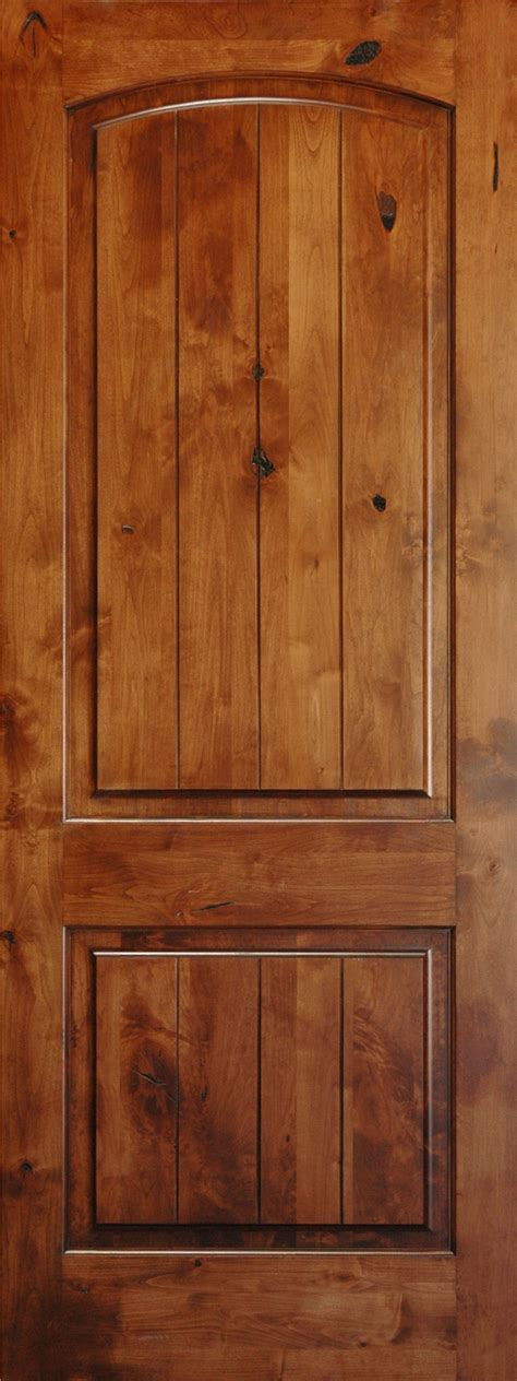 Knotty Alder 8 V Groove Arch 2 Panel Wood Interior Doors 2 Panel Interior Wood Doors