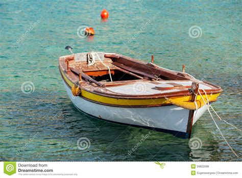 boat float prices wooden fishing boat floats in adriatic sea stock photo