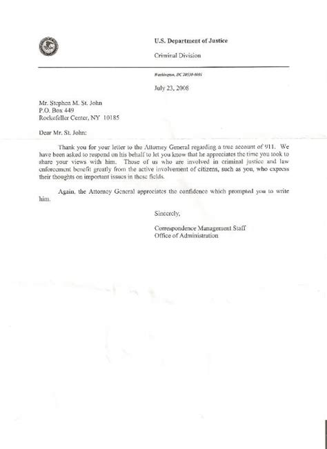 certified letter to us attorney general michael b mukasey