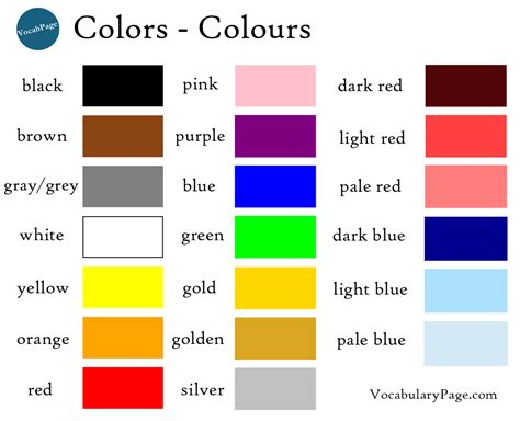 color vocabulary colours in