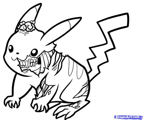 zombie sonic coloring page how to draw zombie pikachu zombie pikachu step by step