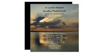 memorial service announcement invitation sunset zazzle