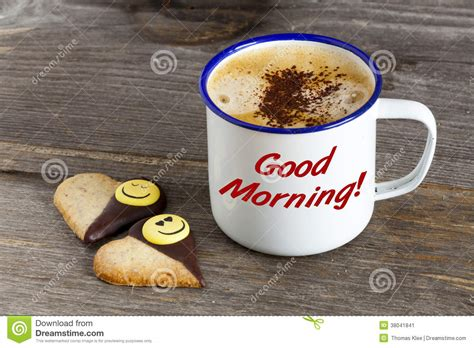 Rustic Coffee Mugs Good Morning With Coffee And Smiley Cookies Stock Image
