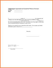 Letter For Child Support by 9 Sle Child Support Agreement Letter Template Purchase Agreement
