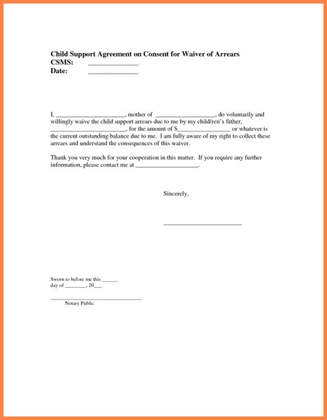 Letter Of Agreement To Pay Child Support sle child support agreement letter template letter
