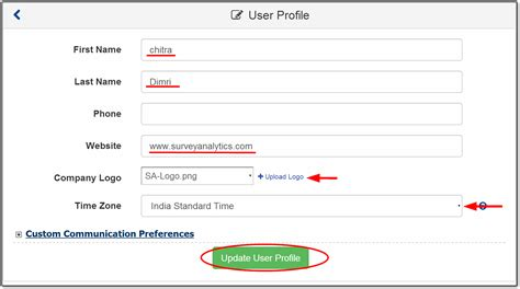 Email Survey Tools - changing user profile email password etc