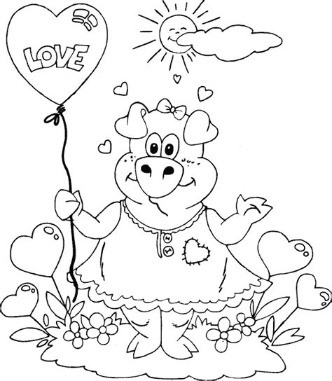 Valentine Pig Coloring Page | valentine coloring pages baby pig coloring pages