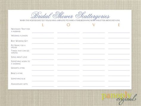 personalized bridal shower scattergories bridal shower bridal shower game scattergories planning lists and