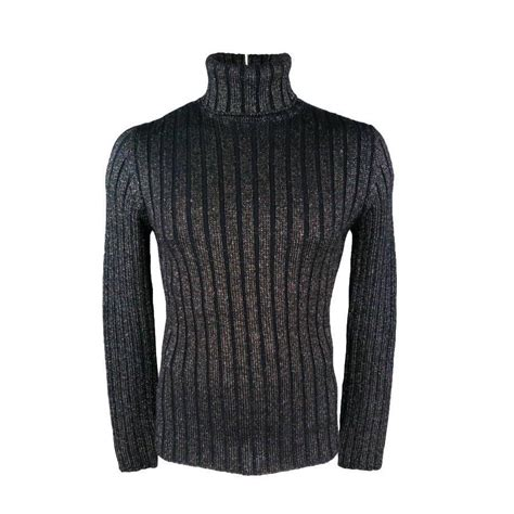 Sweater Navy Size M dolce and gabbana size m navy and silver sparkle lurex wool turtleneck sweater at 1stdibs