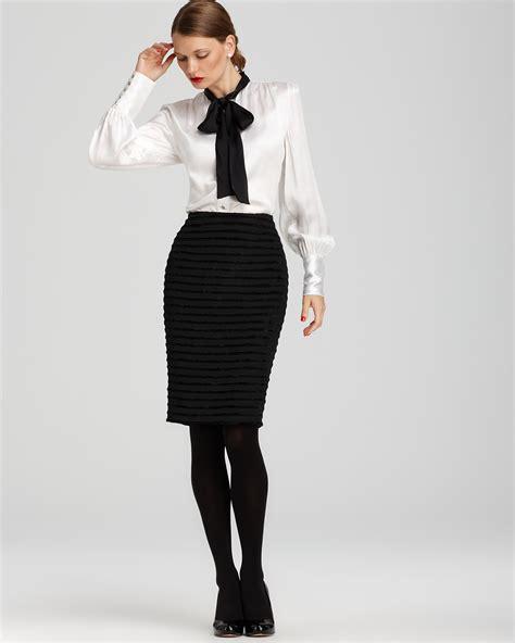 roy bow neck silk blouse and ottoman pencil skirt