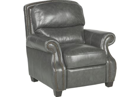 Frankford Charcoal Leather Recliner Leather Recliners Gray