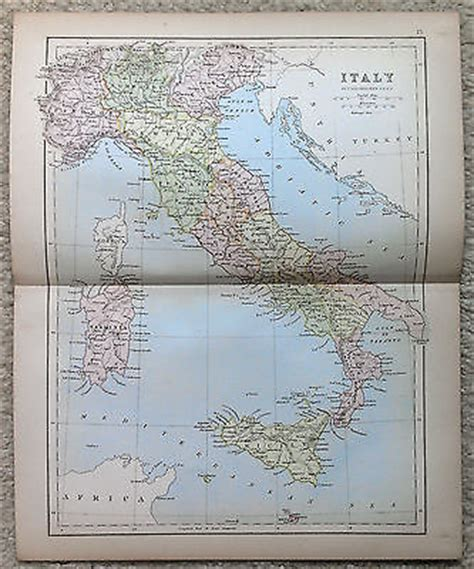Highways Act 1980 Section 184 by Antique Map Of Italy By J Bartholomew 1877 Usd 20 00 End