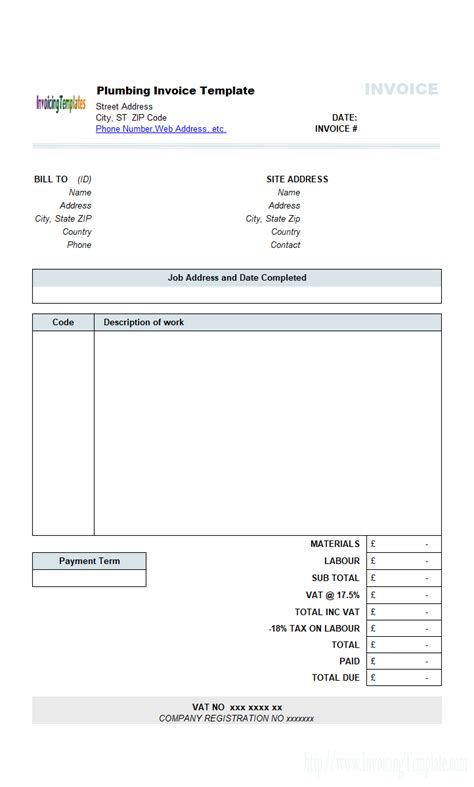 contractor invoices templates plumbing contractor invoice template