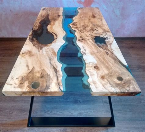 SOLD Live edge river table Blue Valley with blue