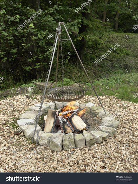 Backyard Bbq Equipment Outdoor Fireplace With Barbecue Equipment Stock Photo