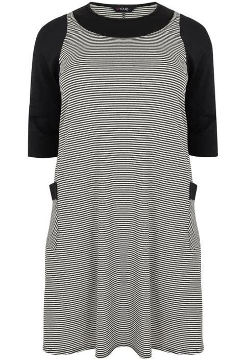 Mock Two Striped Panel Top black white striped textured mock pinafore dress with