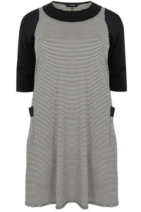 Pocket Monochrome Stripe Tunic Blouse 8307 black white striped textured mock pinafore dress with