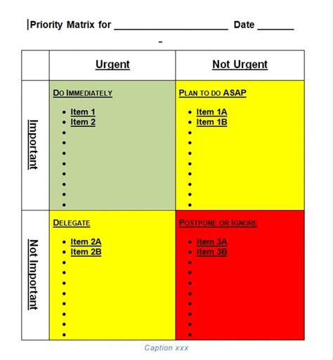 priority list template priority matrix template for word tool store priorities